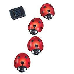 Collections Etc Solar Ladybug Garden Light Lawn Stakes - Set