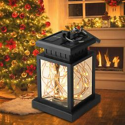 Solar Lantern Hanging Light LED Yard outdoor Patio Garden La