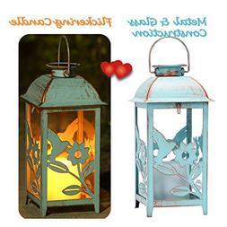 Solar Lantern Outdoor Hummingbird Blue Decor Antique Metal a