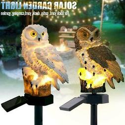 Solar LED Warm White Light Stand Owl Garden Landscape Yard O