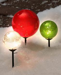 Solar Light Christmas Gazing Balls Yard Lawn Art Holiday Out