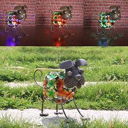 W-DIAN Solar Light Dog Garden Decor,Metal Rusty Dog,Outd