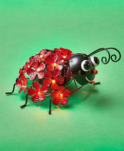 Solar Light Flower Ladybug Yard Lawn Garden Art Outdoor Home