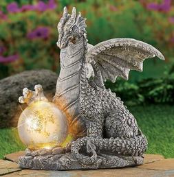 Solar Lighted Gazing Ball Dragon Garden Statue Yard Decor Gr