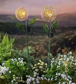 Solar Lighted Dandelion Garden Stakes, Set of 2