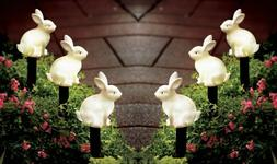 Set of 3 Solar LED Lighted Easter Bunny Outdoor Garden Stake
