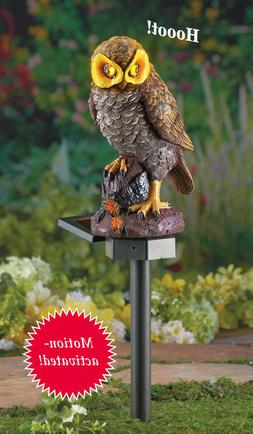Solar Lighted Eyes & Hooting Sound Owl Garden Statue Stake -