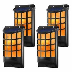 TomCare Solar Lights Waterproof Flickering Flames Wall Light