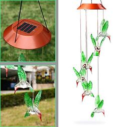 Solar Mobile Wind Chime, Lighten Glimmer Hummingbird Multi C