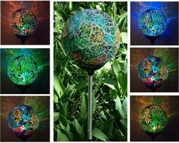 Solar Mosaic Glass Ball Garden Stake Color Change LED Light