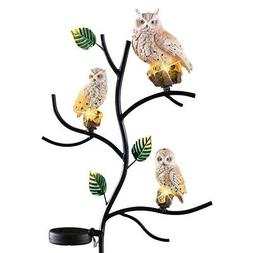 Solar Owl Family Garden Decor Yard Stake, Beige, by Collecti