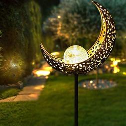 Solar Pathway Lights Moon Light Crackle Glass Globe Stake fo