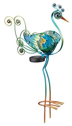 """Regal Art and Gift 10658 Solar Peacock, Green Stake, 21"""""""