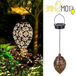 Solar Power LED Hanging Lantern Light Metal Garden Yard Deco