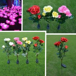Solar Power LED Rose Flower Light Outdoor Garden Yard Lawn P