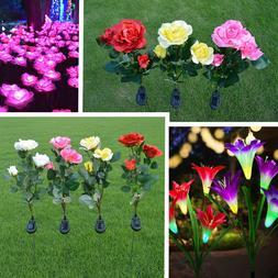 Solar Power LED Rose/Lily Flower Lights Garden Yard Backyard