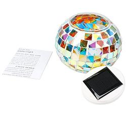 Shinena Solar Power Mosaic Glass Ball Garden Stake Color Cha