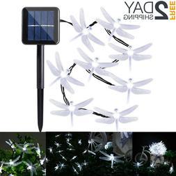 Outdoor Solar Powered 20 LED Dragonfly String Light Garden P