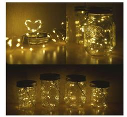 Solar Powered 20 LED Mason Jar Fairy String Light Lids Inser