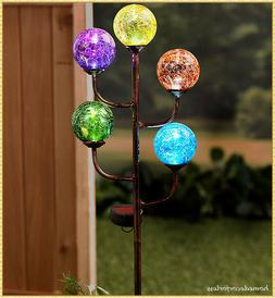 Solar Powered 5-Light Colorful Glass Globes Garden Yard Stak