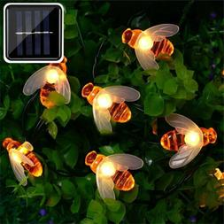 50 LED Solar Powered String Light Bee Shape Garden Path Yard