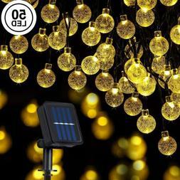 Solar Powered 50 LED String Light Garden Path Yard Decor Lam