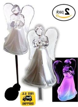 Solar Powered Angel w/ Frosted Skirt Garden Stake Color Chan
