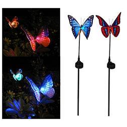 Elinkume Solar Powered Outdoor Butterfly Figurine Garden Sta