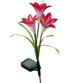WannaBi Solar Powered LED Color Changing Red Lily 4X Flowers