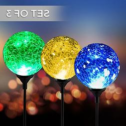 Solar Powered Crackle Glass Ball- 7 Color Changing Stake Lig
