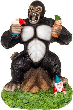 Solar Powered Gorilla Lawn Gnome - Light Up Garden Statue by