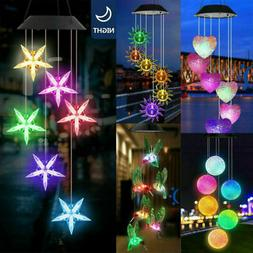 Solar Powered LED Hummingbird Wind Chime Color-Changing Ligh
