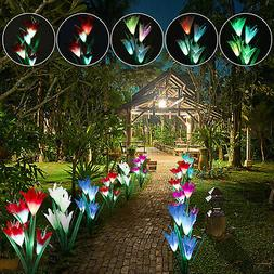Solar Powered Lily Flower Garden Stakes 2 Pack Color Change