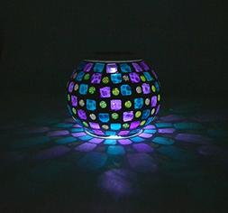 Samyo Solar Powered Mosaic Color Changing Rechargeable LED F