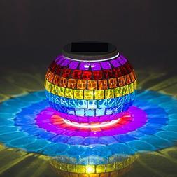 MerryNine Solar Powered Mosaic Glass, Solar Table Lamp Color