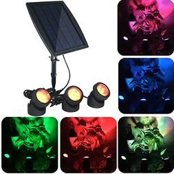 YADICO Solar Powered Submersible RGB Lamps Color Changing La