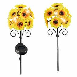 Solar Powered Sunflower Yard Stakes - Set of 2