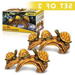 Solar Powered Turtles on Log Decoration- Set Of 2- Ultra Dur