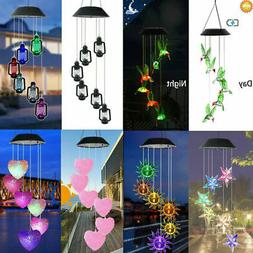 Solar Powered Wind Chimes Hanging Color Changing LED Light Y
