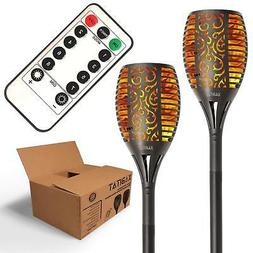 Solar Tiki Torch Lights - Remote Controlled Flickering Flame