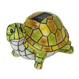 Solar Turtle Statue Garden Art LED Light Outdoor Landscape Y