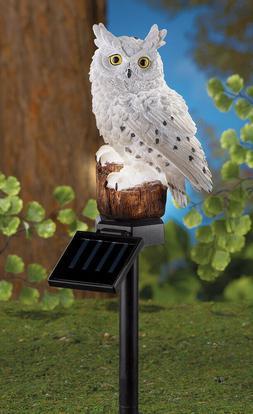 Solar White Owl Light Garden Bird Outdoor Lawn Patio Ornamen