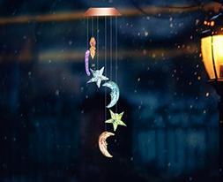 LED Solar Wind Chime, Color-Changing Star and Moon Shapes So
