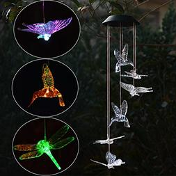 Chasgo Solar Wind Chimes Hummingbird Butterfly Dragonfly Sol