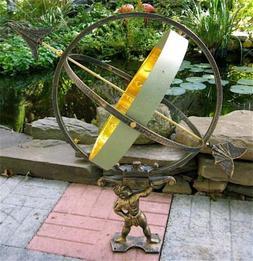 Large Solid Brass & Iron Hercules Sundial ~ Garden Decor