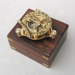 "Solid Brass 3"" Sundial Compass - W/ Inlaid Hardwood Box"