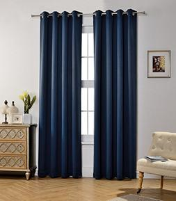MYSKY HOME Solid Grommet top Thermal Insulated Window Blacko