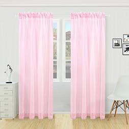 KEQIAOSUOCAI 2 Pieces Solid Color Sheer Rod Pocket Curtains