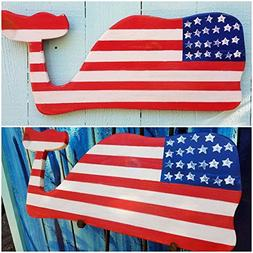 Southern style whale wall hanging with stars and stripes.