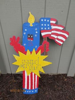 Sparky the Firecracker 4th of July Decor, Patriotic Decor, W